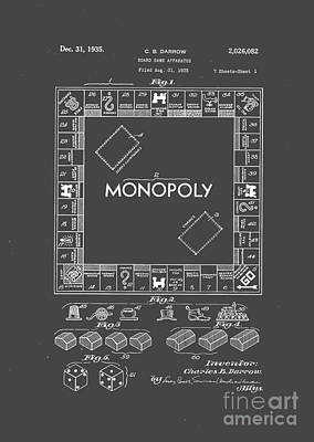 Monopoly Original Patent Art Drawing T-shirt Poster by Edward Fielding