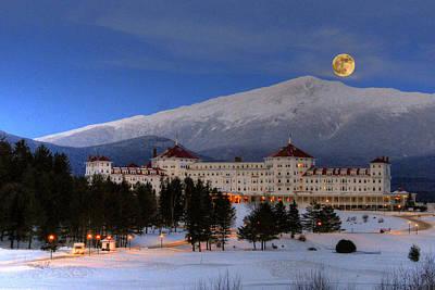 Moonrise Over The Mount Washington Hotel Poster by Ken Stampfer
