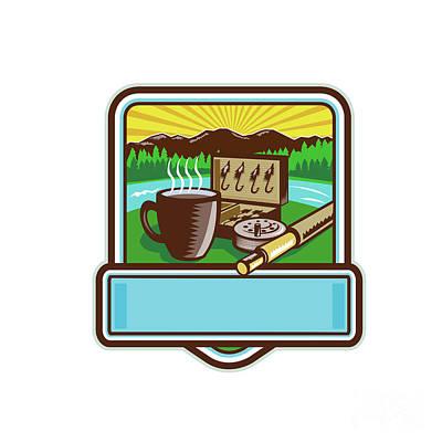 Mug Fly Tackle Bait Box Rod Reel Crest Woodcut Poster by Aloysius Patrimonio