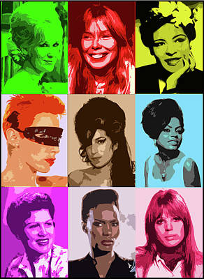 Music Icons #1 Female Poster by Cathy Cain