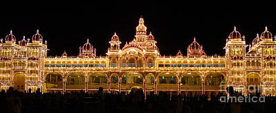 Mysore Palace - During Dussehra Festival Poster by Mike Holloway