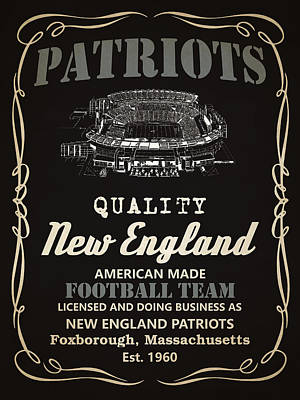 New England Patriots Whiskey Poster by Joe Hamilton
