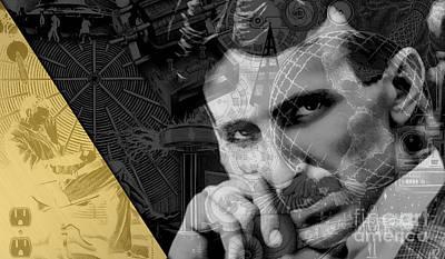Nikola Tesla Collection Poster by Marvin Blaine