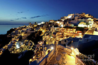 Oia Night View Poster by Gualtiero Boffi