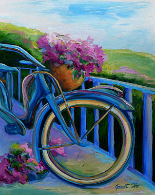 Old Bicycle On The Front Porch Poster by Janet Oh