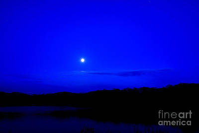 Passover Moon Over Lake Poster by Thomas R Fletcher