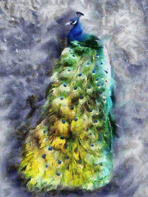Peacock Portrait Poster by Jai Johnson