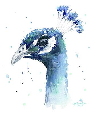 Peacock Watercolor Poster by Olga Shvartsur