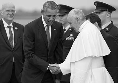 Pope Francis And President Obama Poster by Mountain Dreams
