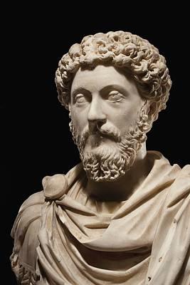 Portrait Bust Of Emperor Marcus Aurelius Poster by Roman School