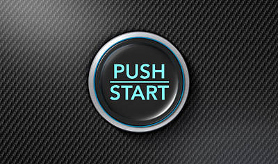Push To Start Carbon Fibre Button Poster by Allan Swart
