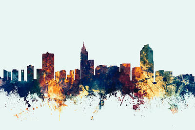Raleigh North Carolina Skyline Poster by Michael Tompsett