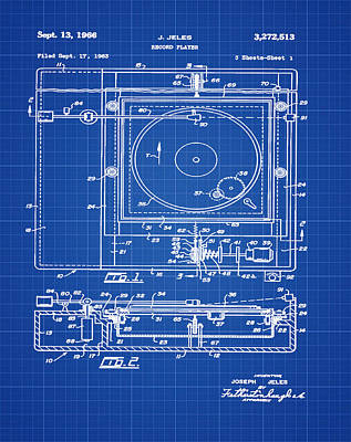 Record Player Patent 1966 Blue Print Poster by Digital Reproductions