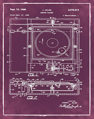 Record Player Patent 1966 Red Poster by Digital Reproductions