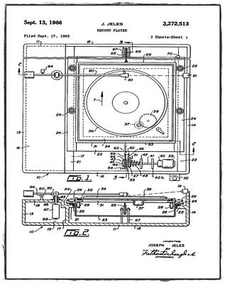 Record Player Patent 1966 White Poster by Digital Reproductions