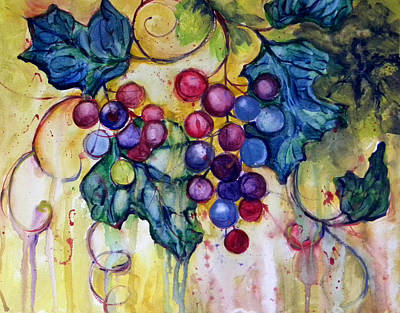Red Water Color Grapes Poster by Peggy Wilson