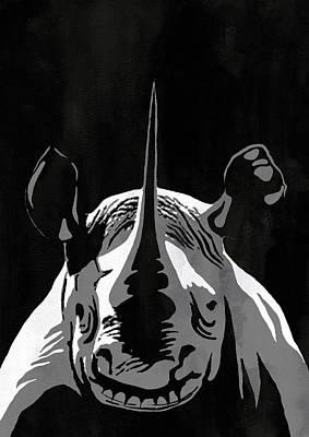 Rhino Animal Decorative Black Poster 1 -  By Nostalgic Art Poster by Diana Van