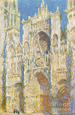 Rouen Cathedral - West Facade - Sunlight Poster by Claude Monet