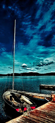 Sailboat At The Dock Poster by David Patterson