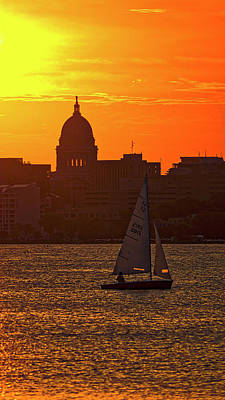 Sailing - Lake Monona - Madison - Wisconsin Poster by Steven Ralser