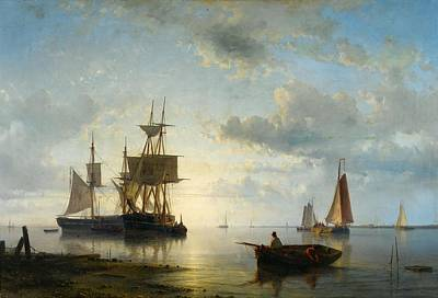 Sailing Ships At Dusk Poster by Abraham Hulk