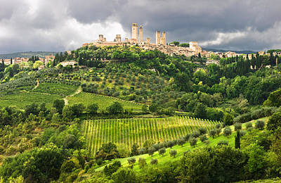 Wine Country Poster featuring the photograph San Gimignano Tuscany Italy by Carl Amoth