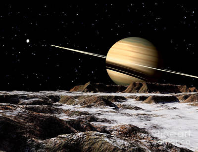 Saturn Seen From The Surface Poster by Ron Miller