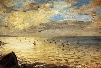 Sea Viewed From The Heights Of Dieppe Poster by Eugene Delacroix