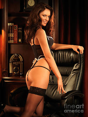 Sexy Young Woman In Black Lingerie Poster by Oleksiy Maksymenko