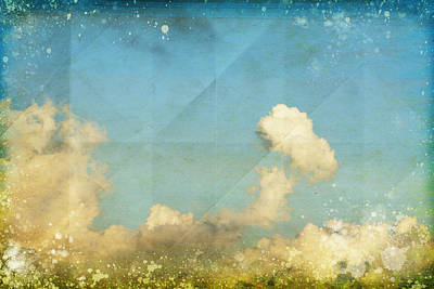 Sky And Cloud On Old Grunge Paper Poster by Setsiri Silapasuwanchai