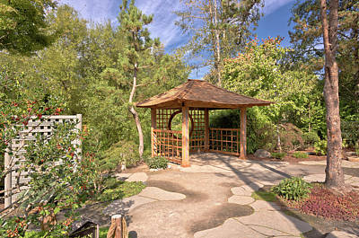 Small Gazebo In A Japanese Garden Oregon. Poster by Gino Rigucci