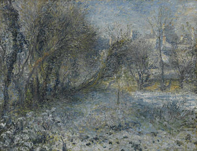 Snow Covered Landscape Poster by Auguste Renoir