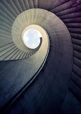 Spiral Staircase In Cold Tones Poster by Jaroslaw Blaminsky
