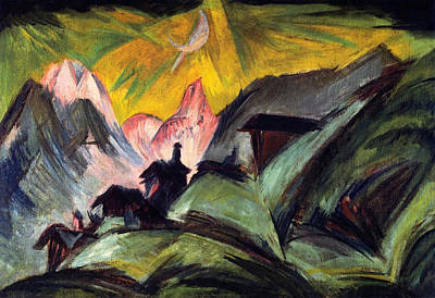 Stafelalp By Moonlight Poster by Ernst Ludwig Kirchner