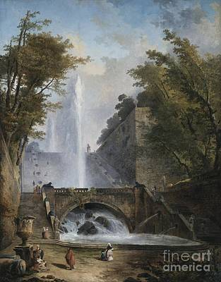 Stair And Fountain In The Park Of A Roman Villa Poster by Hubert Robert