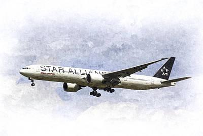 Star Alliance Boeing 777 Poster by David Pyatt