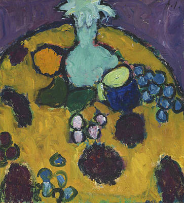Still Life With Embroidered Blanket Poster by Alexej von Jawlensky