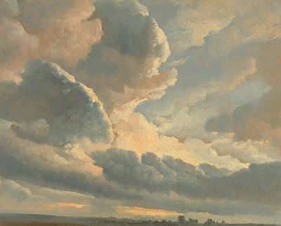 Study Of Clouds With A Sunset Near Rome Poster by Simon Alexandre Clement Denis