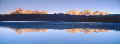 Sunrise Over Redfish Lake And Sawtooth Poster by Panoramic Images