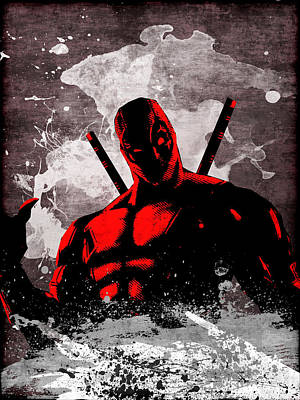 Superhero. Deadpool. Poster by Elena Kosvincheva