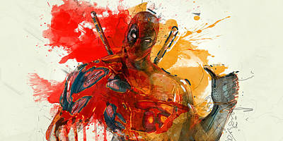Superhero.deadpool. Poster by Elena Kosvincheva