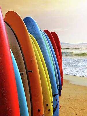 Surf Boards Poster by Carlos Caetano