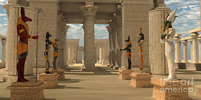 Temple Of Ancient Pharaohs Poster by Corey Ford