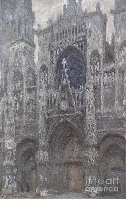 The Cathedral In Rouen - The Portal Grey Weather Poster by Claude Monet