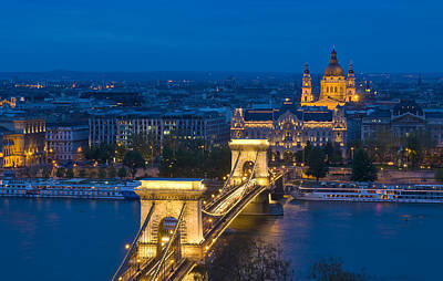 The Chain Bridge In Budapest Poster by Kobby Dagan