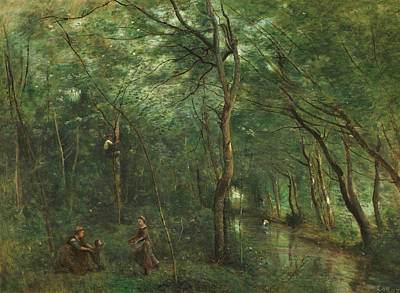 The Eel Gatherers Poster by Jean-Baptiste-Camille Corot