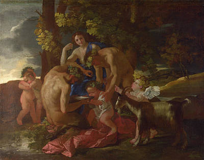 The Nurture Of Bacchus Poster by Nicolas Poussin