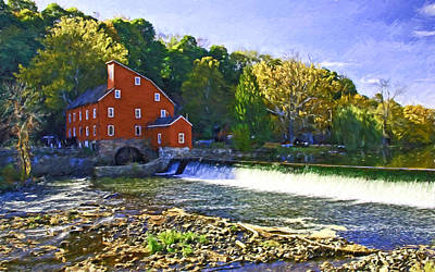 The Red Mill - Clinton  N J - Digital Painting Poster by Allen Beatty