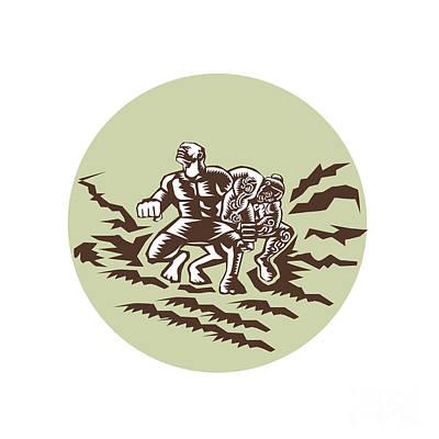 Tiitii Wrestling God Of Earthquake Circle Woodcut Poster by Aloysius Patrimonio