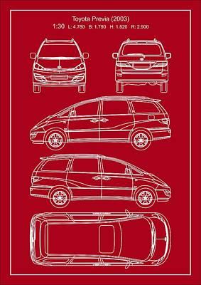 Toyota Previa 2003 Poster by Elena Kosvincheva
